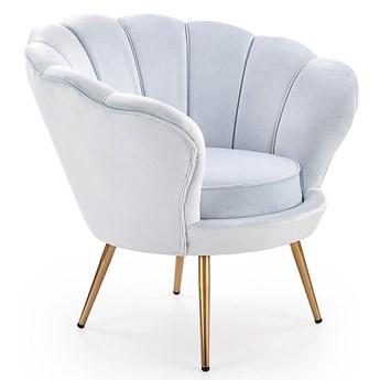 Fotel do salonu w kształcie muszli Shelli - błękitny
