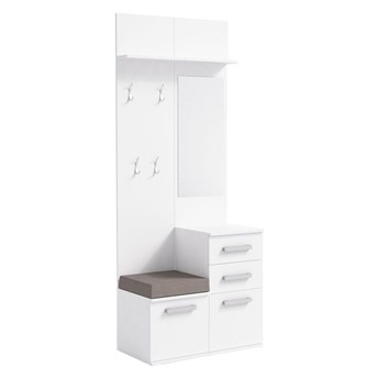 Skandynawska garderoba z szafką na buty Dimmi - biała