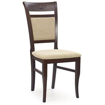 Tapicerowane krzesło drewniane Alvin - ciemny orzech