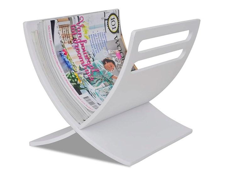 Drewniany stojak na gazety Varis 2X - biały Drewno Kolor Kategoria Gazetniki