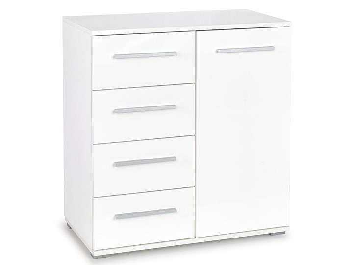 Komoda Lines C5 - biała Głębokość 40 cm Szerokość 77 cm Z szafkami i szufladami Wysokość 82 cm Styl Minimalistyczny