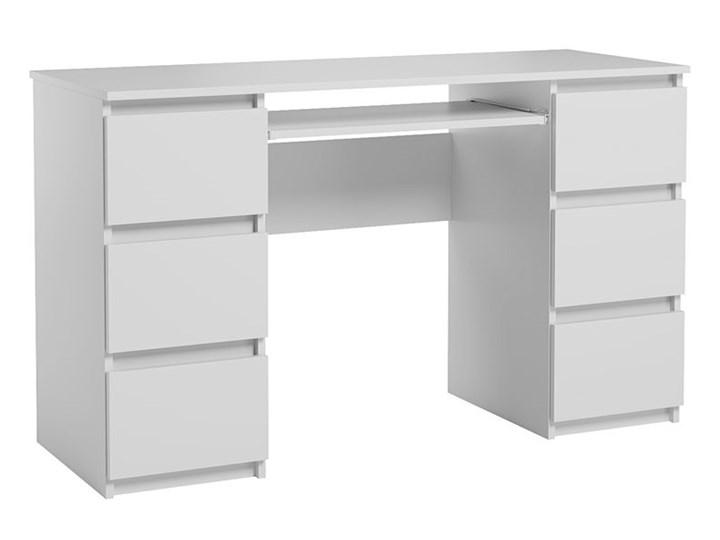 Matowe biurko białe - Aglo 2X Głębokość 50 cm Szerokość 130 cm Kategoria Biurka