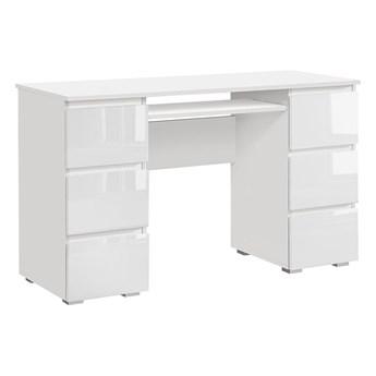 Lakierowane białe biurko komputerowe - Aglo 2X