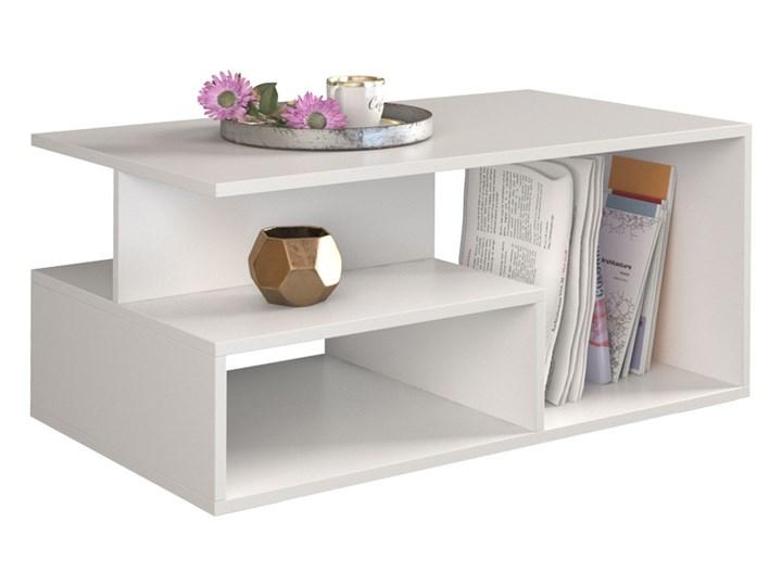 Nowoczesny stolik kawowy Keero - biały Wysokość 43 cm Kształt blatu Prostokątne Styl Minimalistyczny