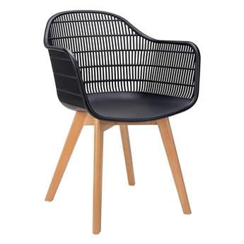 Krzesło patyczak z oparciem Cesta - czerń i jesion