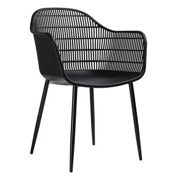 Krzesło ażurowe patyczak z oparciem Cesta - czarne