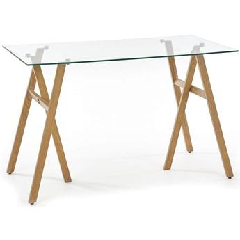 Nowoczesne szklane biurko Kobe - dąb miodowy