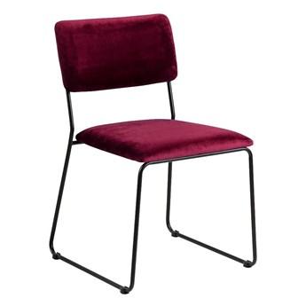 Welwetowe krzesło Nadio - bordowe