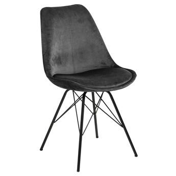Welurowe krzesło tapicerowane Lindi 2X - szare