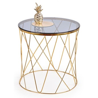 Okrągły szklany stolik kawowy Hybris - Złoty