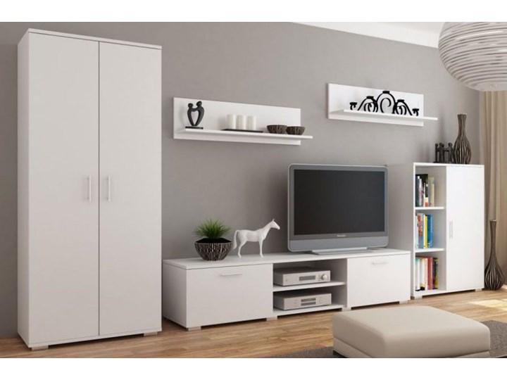 Biała meblościanka z szafą Pixelo 4X Kolor Biały Kategoria Zestawy mebli do sypialni