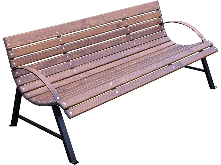 Retro ławka do ogrodu Wagris 200 cm - orzech Drewno Z oparciem Stal Styl Vintage Kategoria Ławki ogrodowe