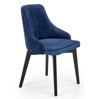Pikowane krzesło tapicerowane do salonu Altex 3X - granatowe