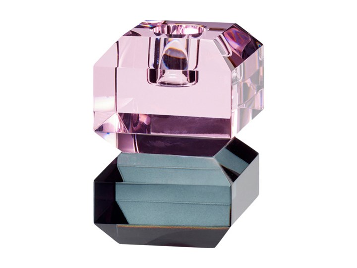 Świecznik kryształowy Cryst II Kolor Fioletowy Kolor Czarny