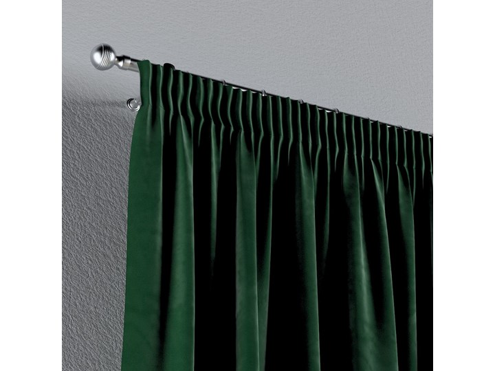 Zasłona na taśmie marszczącej 1 szt., butelkowa zieleń, 1szt 130 × 260 cm, Velvet Poliester Zasłona prześwitująca 130x260 cm Kolor Zielony