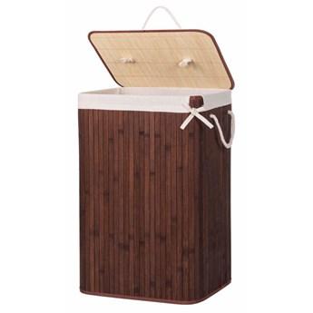 Bambusowy kosz na pranie 72 L z pokrywą ciemny brązowy