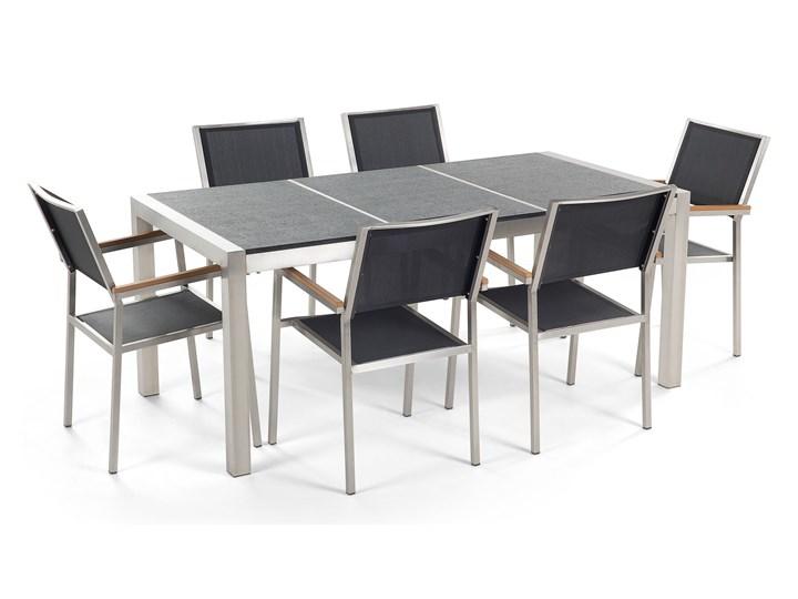 Zestaw mebli ogrodowych jadalniany czarny palony stół granit/bazalt 180 x 90 cm 6 krzeseł tekstylnych sztaplowanych