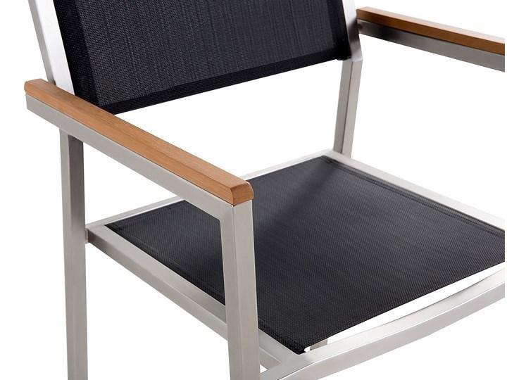 Zestaw mebli ogrodowych jadalniany czarny palony stół granit/bazalt 180 x 90 cm 6 krzeseł tekstylnych sztaplowanych Stoły z krzesłami Tworzywo sztuczne Stal Kategoria Zestawy mebli ogrodowych