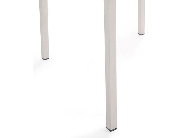 Zestaw mebli ogrodowych jadalniany czarny palony stół granit/bazalt 180 x 90 cm 6 krzeseł tekstylnych sztaplowanych Stoły z krzesłami Stal Tworzywo sztuczne Styl Nowoczesny