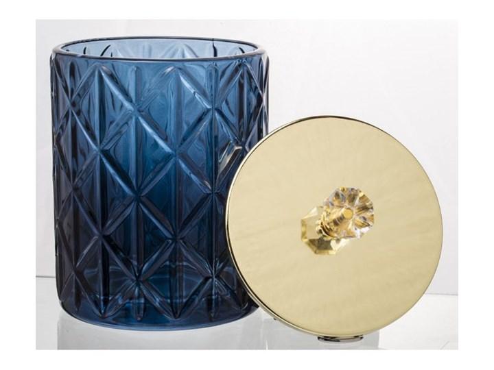 SZKLANY POJEMNIK/BOMBONIERKA GRANAT POKRYWKA ZŁOTA LUNA15x10,5x10,5CM Metal Na produkty sypkie Szkło Kolor Złoty Typ Pojemniki