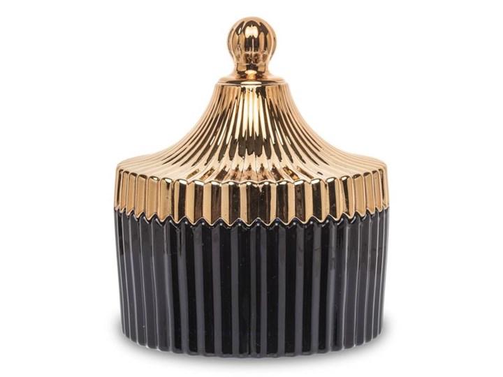 BOMBONIERKA SZKLANA GRANAT Z POKRYWKĄ ZŁOTĄ CASCADA BLACK 12x10x10cm Okrągłe Klosz Szkło Kolor Złoty
