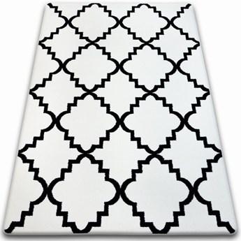 """Dywan biały wzor czarny  koniczyna marokańska  wybierz rozmiar """"TRELLIS BASIC """"     80x150cm"""