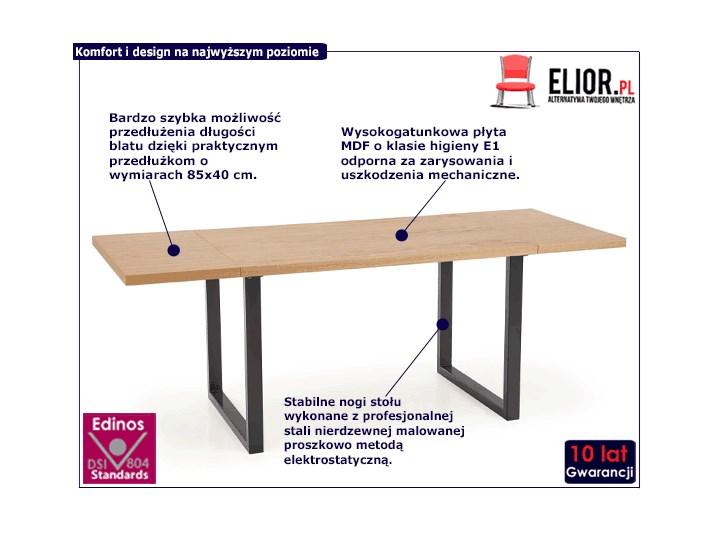 Rozkładany stół w stylu loft do jadalni Lopez 2X 140 XL - dąb Wysokość 76 cm Drewno Szerokość 140 cm Długość 140 cm  Szerokość 85 cm Styl Industrialny