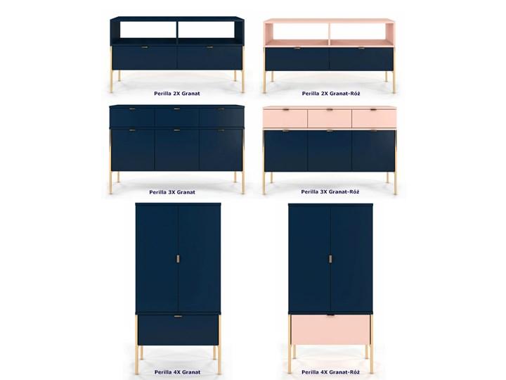 Komoda w stylu glamour Perilla 3X - Granat Szerokość 120 cm Z szafkami i szufladami Wysokość 78 cm Kategoria Komody
