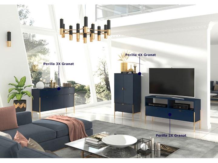 Komoda w stylu glamour Perilla 3X - Granat Wysokość 78 cm Z szafkami i szufladami Szerokość 120 cm Pomieszczenie Pokój nastolatka