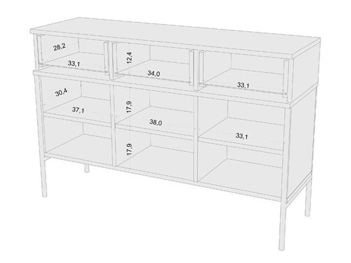 Komoda w stylu glamour Perilla 3X - Granat Z szafkami i szufladami Pomieszczenie Sypialnia Wysokość 78 cm Szerokość 120 cm Kolor Granatowy