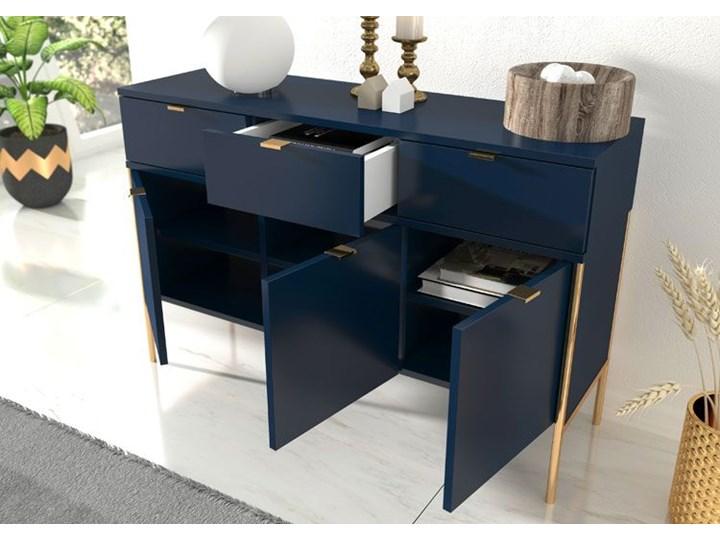 Komoda w stylu glamour Perilla 3X - Granat Kolor Granatowy Wysokość 78 cm Szerokość 120 cm Z szafkami i szufladami Pomieszczenie Pokój nastolatka