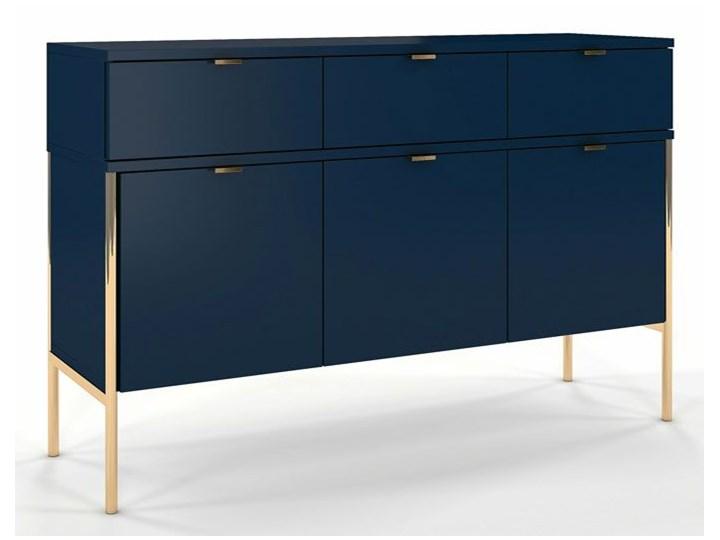 Komoda w stylu glamour Perilla 3X - Granat Z szafkami i szufladami Wysokość 78 cm Szerokość 120 cm Kategoria Komody