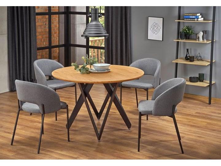 Stół okrągły loftowy Zordo - dąb Drewno Rozkładanie Wysokość 75 cm Długość 120 cm  Styl Minimalistyczny