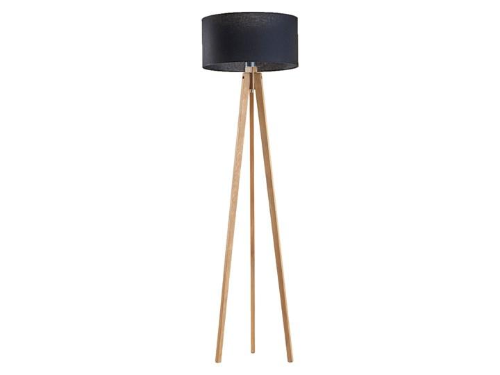 Lampa stojąca drewno LOTUS abażur walec Kolor Czarny Lampa LED Lampa z abażurem Styl Nowoczesny