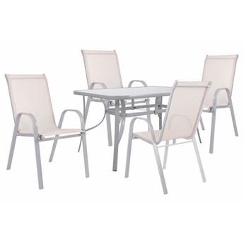 Meble ogrodowe zestaw ogrodowy dla 4 osób metal i szkło beżowy