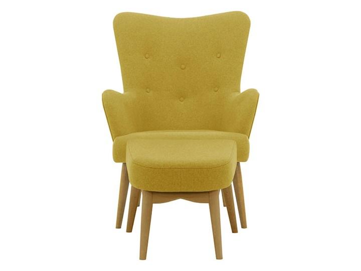 Fotel uszak z podnóżkiem Savano Wysokość 97 cm Fotel pikowany Drewno Fotel z podnóżkiem Głębokość 86 cm Szerokość 78 cm Tkanina Kolor Żółty
