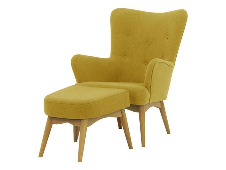 Fotel uszak z podnóżkiem Savano Fotel pikowany Tkanina Drewno Fotel z podnóżkiem Wysokość 97 cm Głębokość 86 cm Szerokość 78 cm Kolor Żółty