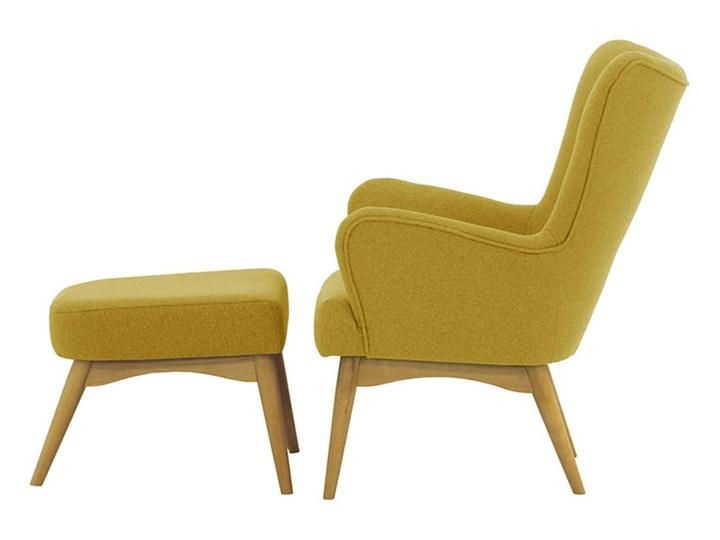 Fotel uszak z podnóżkiem Savano Wysokość 97 cm Fotel z podnóżkiem Drewno Tkanina Szerokość 78 cm Fotel pikowany Głębokość 86 cm Kategoria Fotele do salonu