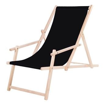 Leżak drewniany z podłokietnikami czarny