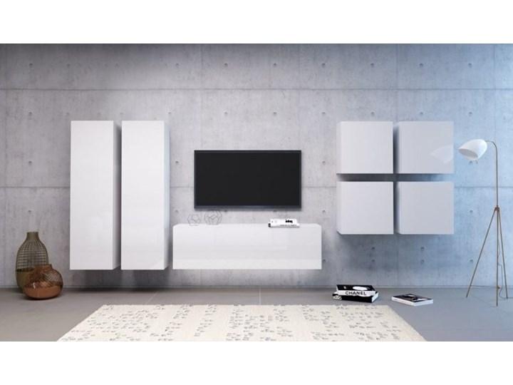 Prosty zestaw mebli do salonu Vivo 4 biały/biały połysk LED B