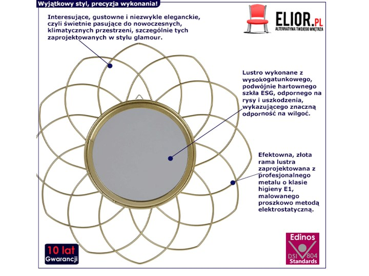 Glamour lustro Gotto - złote Lustro z ramą Ścienne Okrągłe Kategoria Lustra