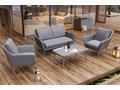 Meble ogrodowe MONZA royal szare Tworzywo sztuczne Aluminium Technorattan Zawartość zestawu Fotele Zawartość zestawu Stolik