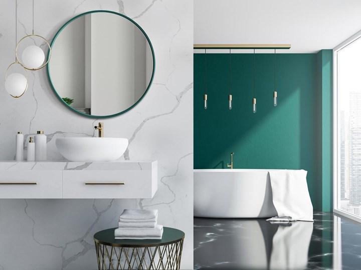 Lustro Scandi Slim – zielona rama Styl Skandynawski Ścienne Okrągłe Lustro z ramą Pomieszczenie Sypialnia