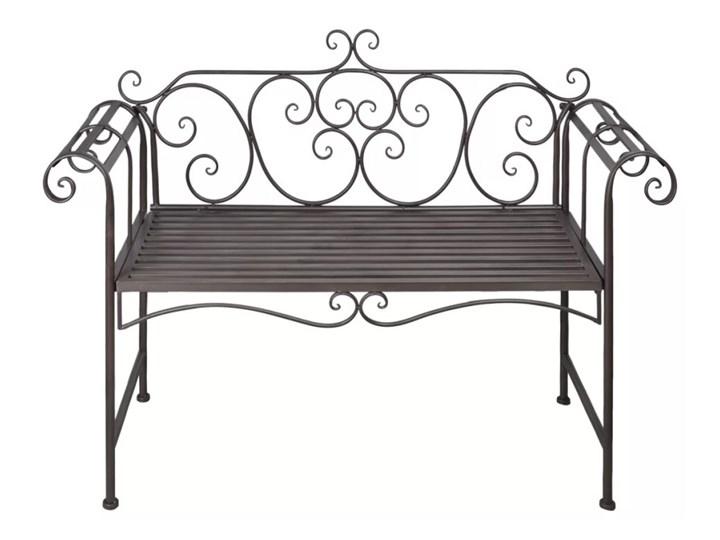 Metalowa ławka ogrodowa Konta - brązowa Stal Kolor Brązowy Długość 132 cm Z oparciem Kategoria Ławki ogrodowe