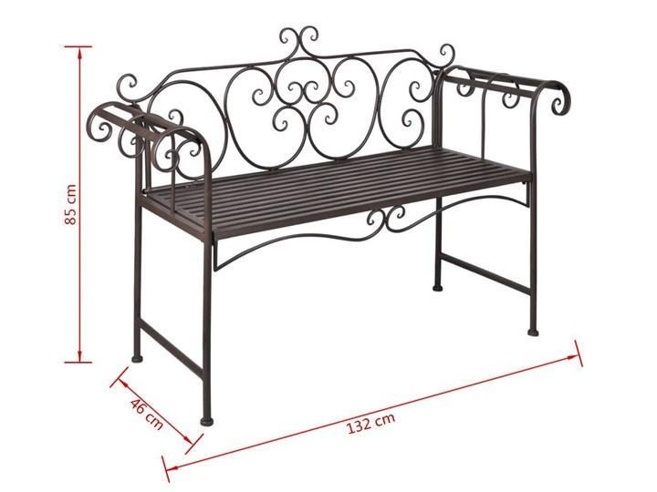 Metalowa ławka ogrodowa Konta - brązowa Kategoria Ławki ogrodowe Długość 132 cm Z oparciem Stal Kolor Brązowy