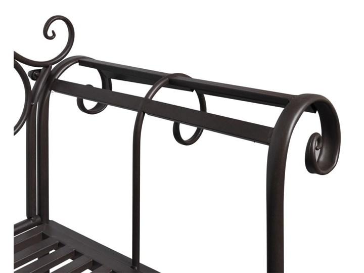 Metalowa ławka ogrodowa Konta - brązowa Kategoria Ławki ogrodowe Z oparciem Długość 132 cm Stal Kolor Brązowy