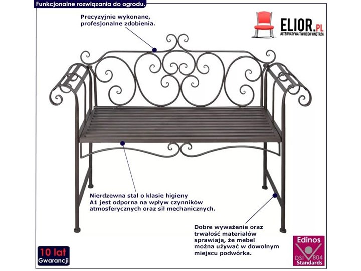 Metalowa ławka ogrodowa Konta - brązowa Z oparciem Kategoria Ławki ogrodowe Stal Długość 132 cm Kolor Brązowy