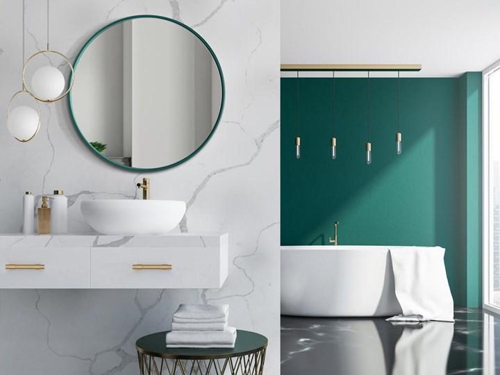 Lustro Scandi Slim – zielona rama Lustro z ramą Okrągłe Ścienne Pomieszczenie Sypialnia
