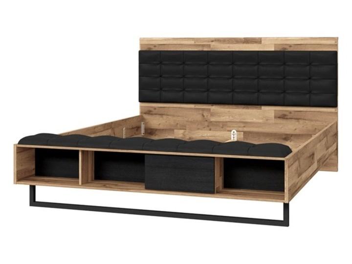Łóżko JAKOBINA 160x200 Łóżko tapicerowane Kolor Brązowy Kolor Czarny