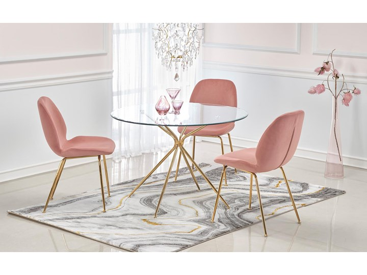 SELSEY Krzesło tapicerowane Brabble różowe Stal Tkanina Metal Pomieszczenie Salon